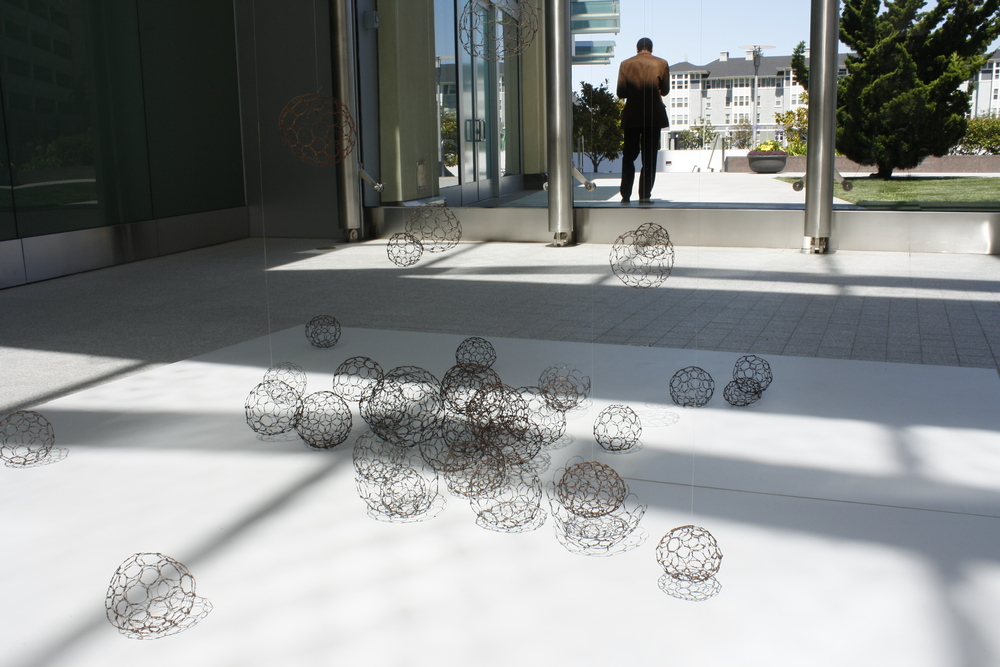 West (wire sphere installation), Gallery 555, Oakland Museum, 2011, 20' x 20' x 20'