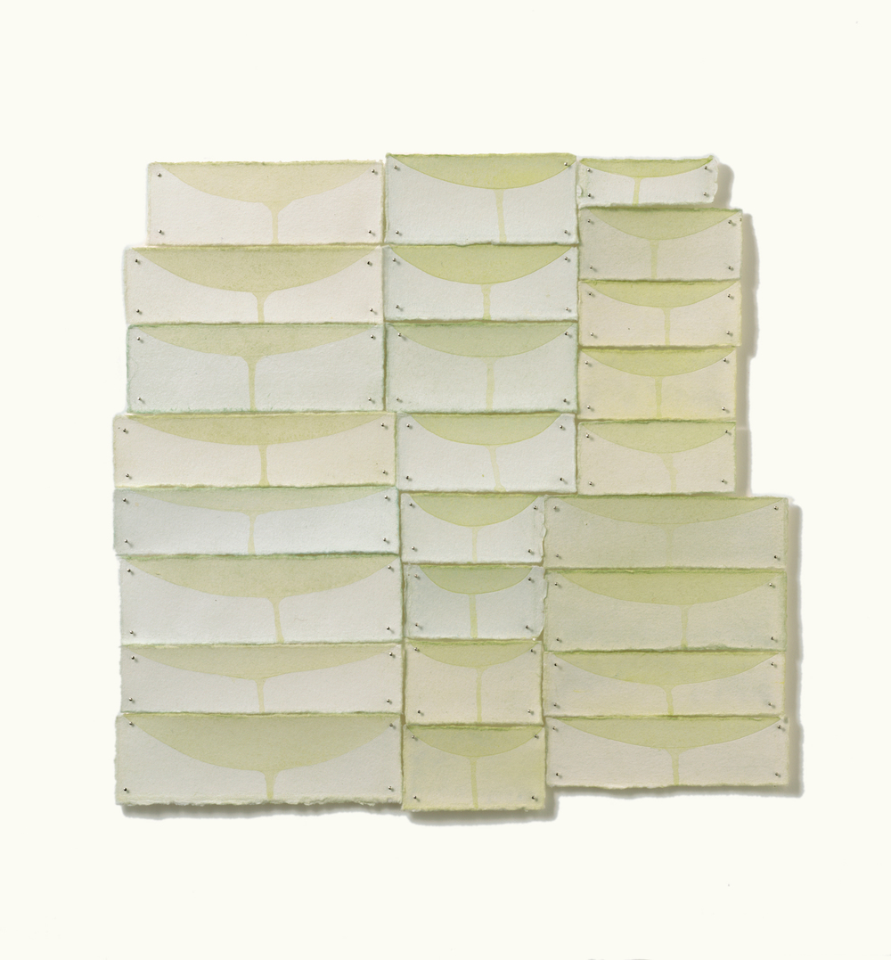 "Basin 4, 2010, gouache, paper, pins, 12"" x 8"""