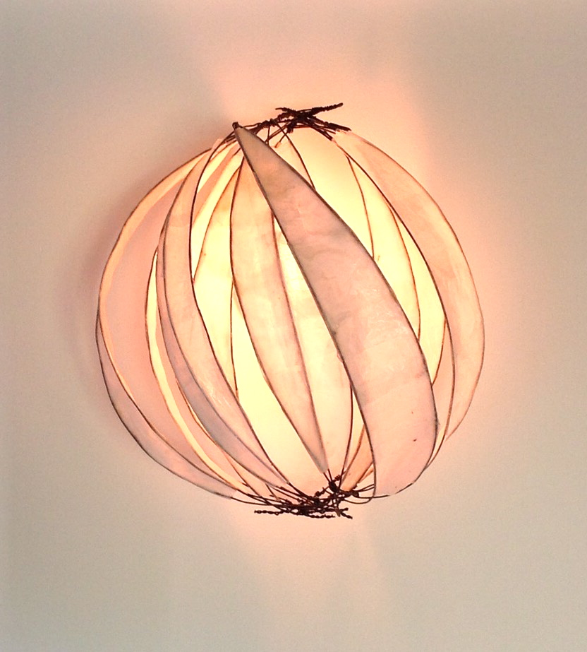 "Stellar Sconce, 2014, wire and paper, 14"" x 14"" x 9"""