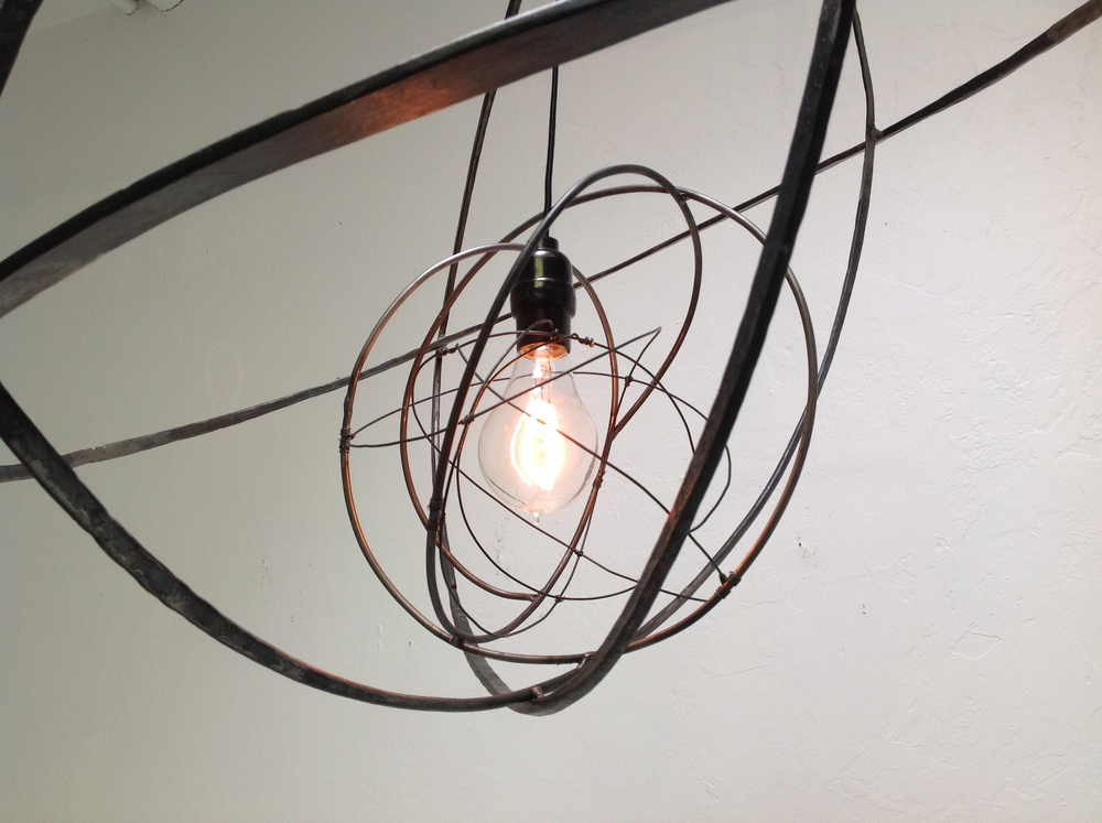 "Stellar Hanging Light (detail), 2014, welded steel and wire, 24"" x 26"" x 26"""