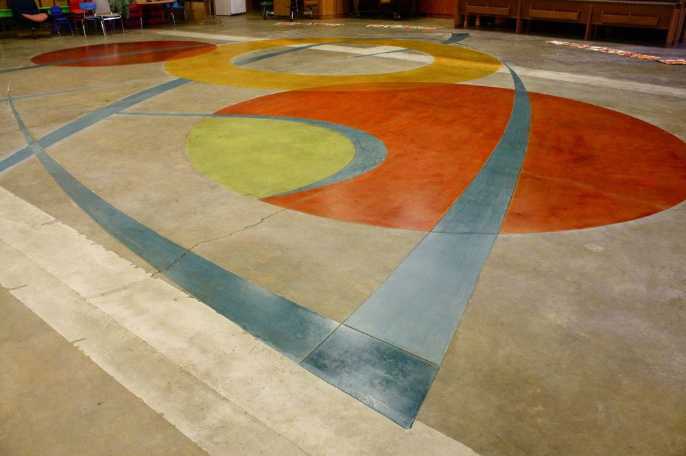 Carved and colored concrete floor improves cafeteria space , Jefferson Elementary School, Berkeley, 2010