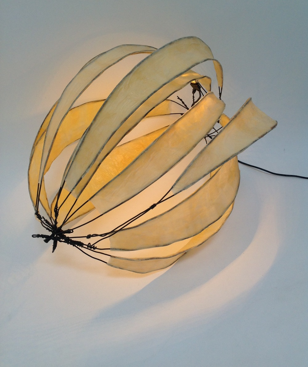 "Stellar Table Lamp, 2014, wire and paper, 12"" x 14"" x 12"""