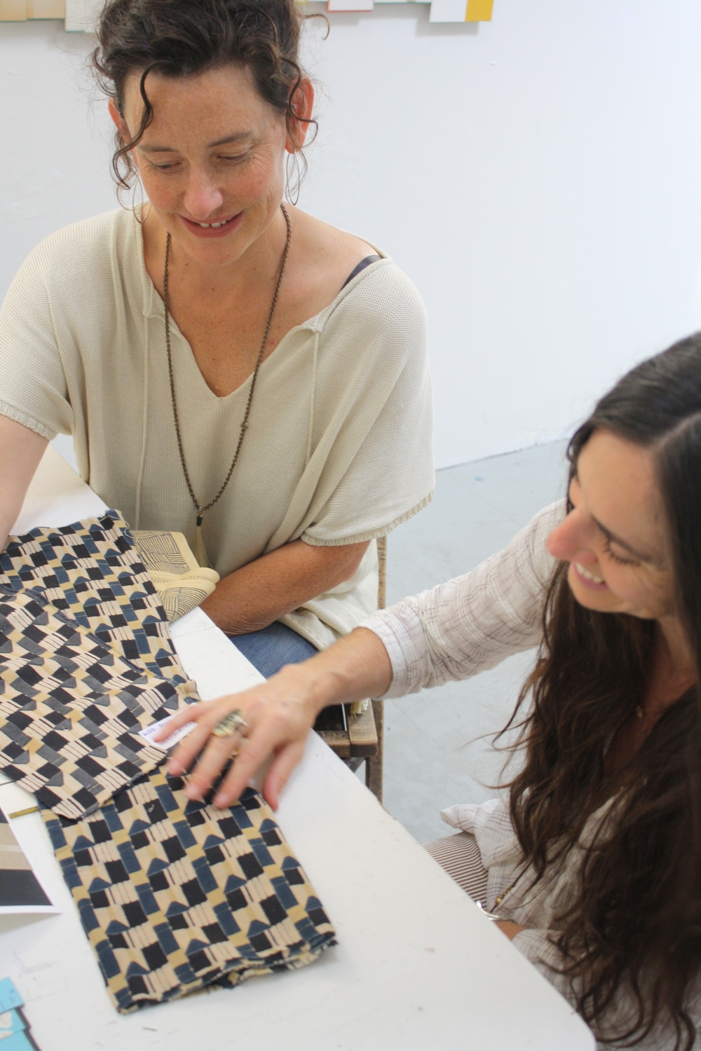 "Erica and Emily with ""Was Black"" fabric designs, 2015"