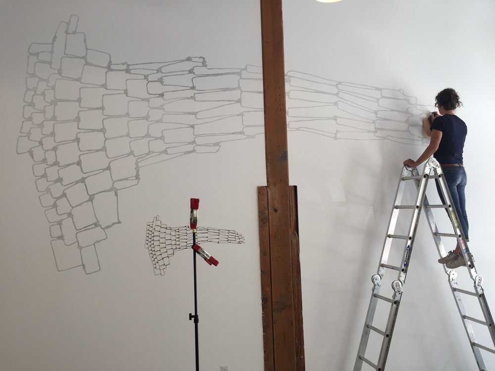 Wall drawing (in progress) at Erica Tanov store in DTLA, 2017