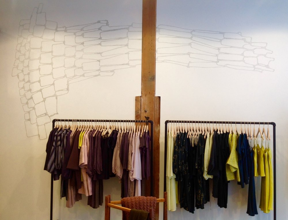 Wall drawing at Erica Tanov store at ROW in downtown LA, opened Fall 2017.  Based on cast shadow of wire sculpture.
