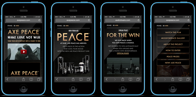 AXE - Kiss For Peace Mobile Site