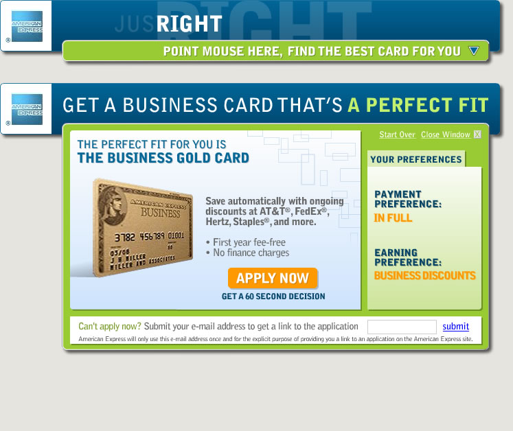 "American Express - ""The CardFinder"" Application Banner"