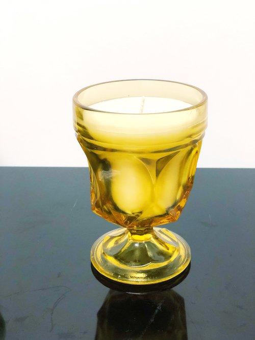 Large vintage amber goblet soy candle