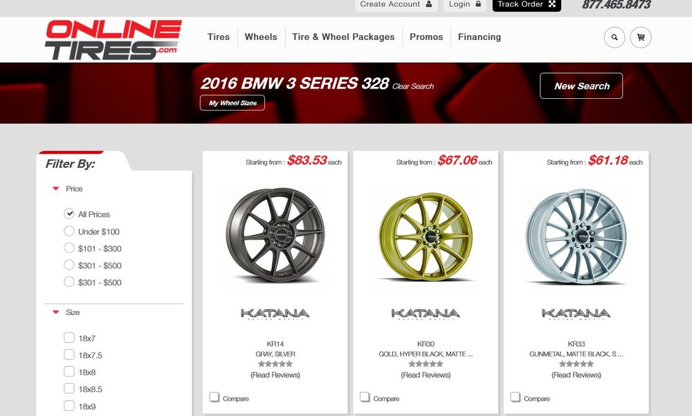 Online Tires Website Categories