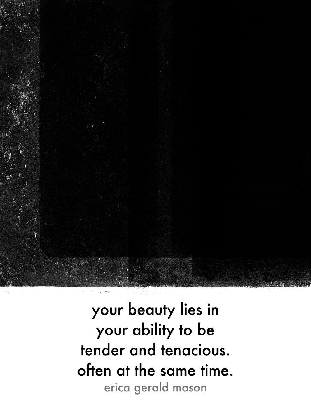 """tender tenacious poem print, 8"""" x 10"""", pdf"""