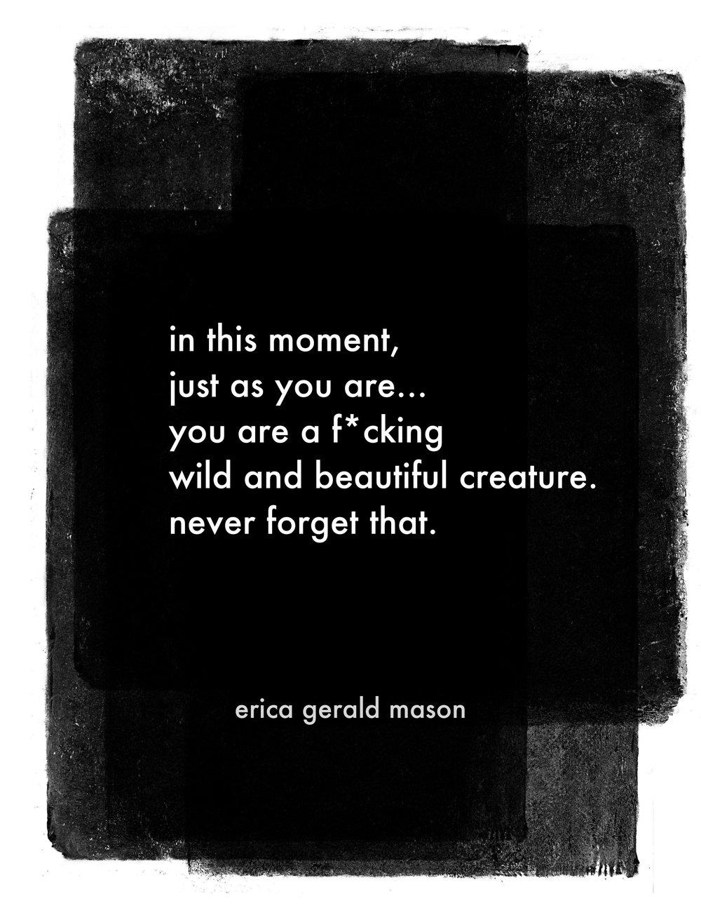 "wild creature poem print, 8"" x 10"", pdf"