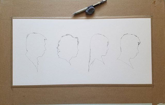 Family of Four. WIP Making a silhouette portrait for a family of four. Finish sketch in pencil on watercolor paper. I first prepped the paper with sizing then stretching it to a flat board with paper gum tape. #kievanhavens #artistsoninstagram #art #sketch #wip #pencil #watercolorpaper #watercolor #handmade #silhouette #family #silhouetteportrait #portrait #holbein