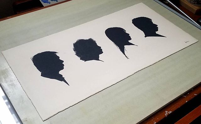 Family of Four. I use Holbien Irodori watercolors for a nice flat and matte look.  Once dry, removing the paper gum tape the watercolor paper stays nice and flat. Now on tongue framers! 😀 #kievanhavens #artistsoninstagram #art #watercolor #watercolorpaper #holbein #silhouette #silhouetteportrait #portrait #family #painting #originalart #handmade #traditionalart #illustration #wip