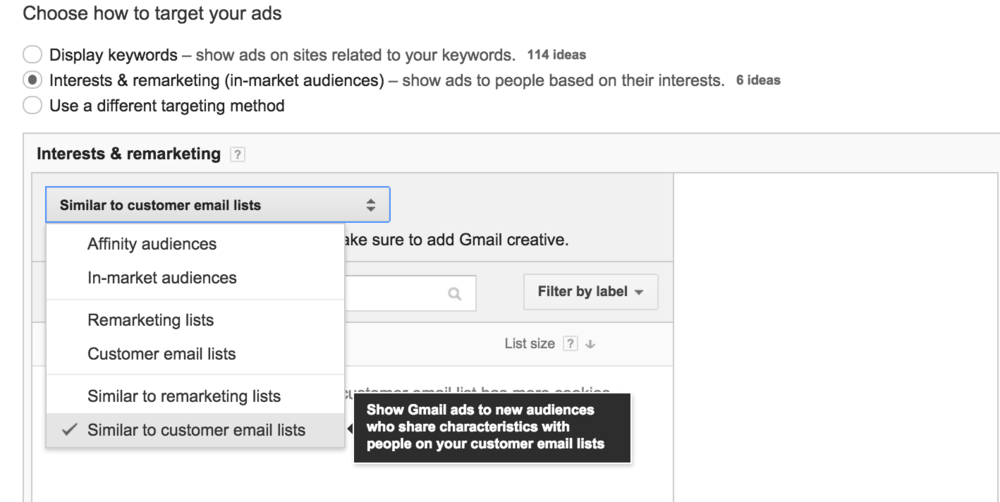 Once uploaded, create lookalike audiences based on your CRM email lists.