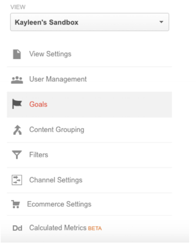New Google Analytics View