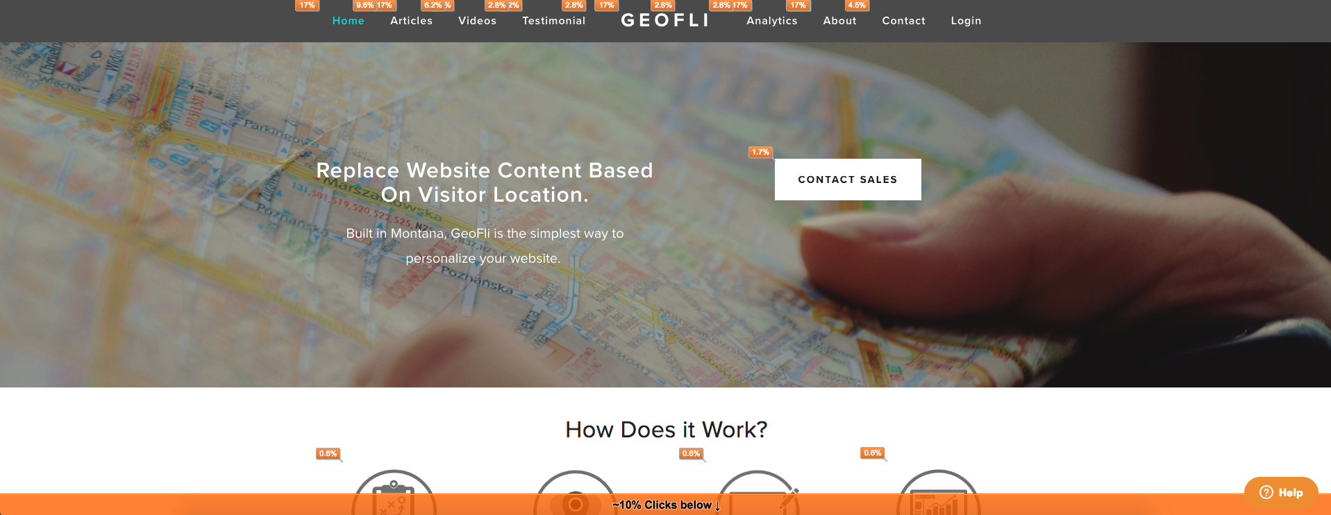 GeoFli website showcases that it is useful to know where visitors click on your site.