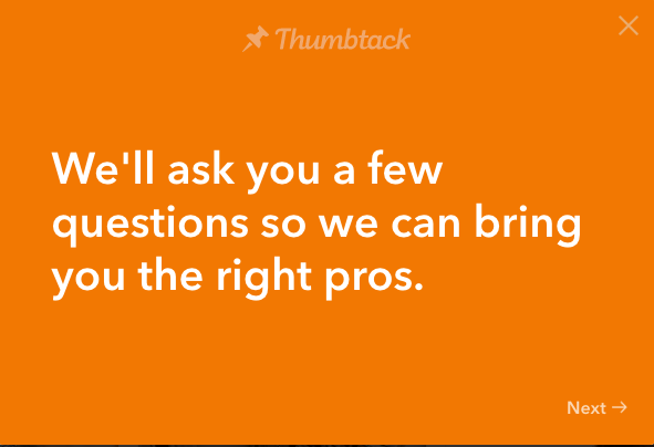 Welcome question for Thumbtack.com