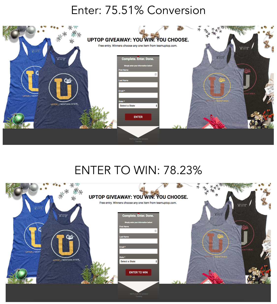 """Image comparing conversion rates when changing CTA button from """"Enter"""" to """"Enter to Win"""""""