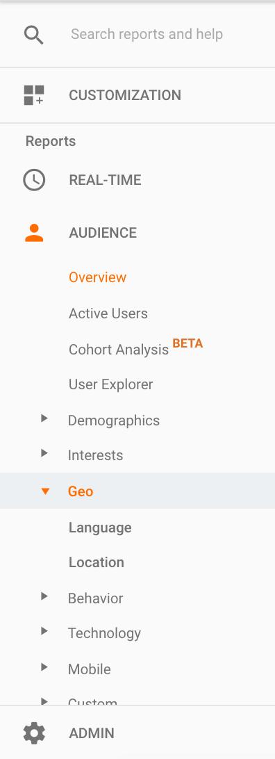Google Analytics left hand navigation bar