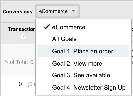 Google Analytics conversions drop down