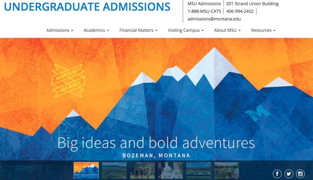 Montana State's site highlighting their mantra of Mountains and Minds in clear graphics