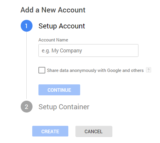 Adding a new account to Google Tag Manager
