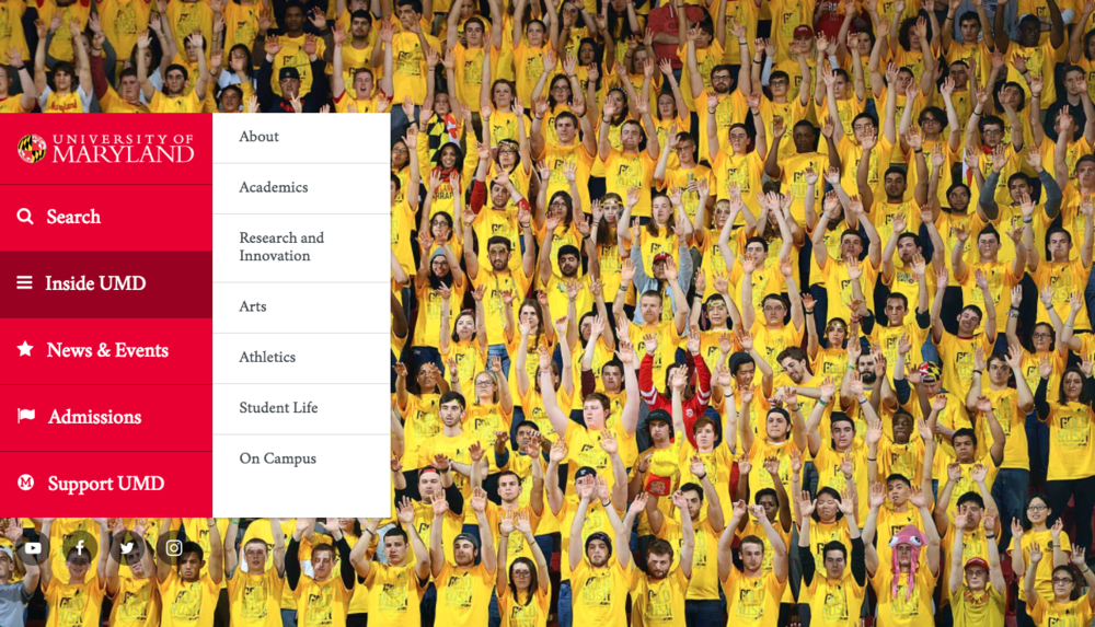 The university of Maryland uses red and yellow to set them apart from other college admissions websites