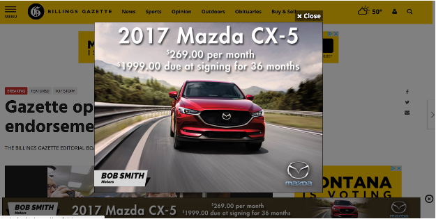 Pop up ads, like this Mazda example are not fit for digitally-native Millennials