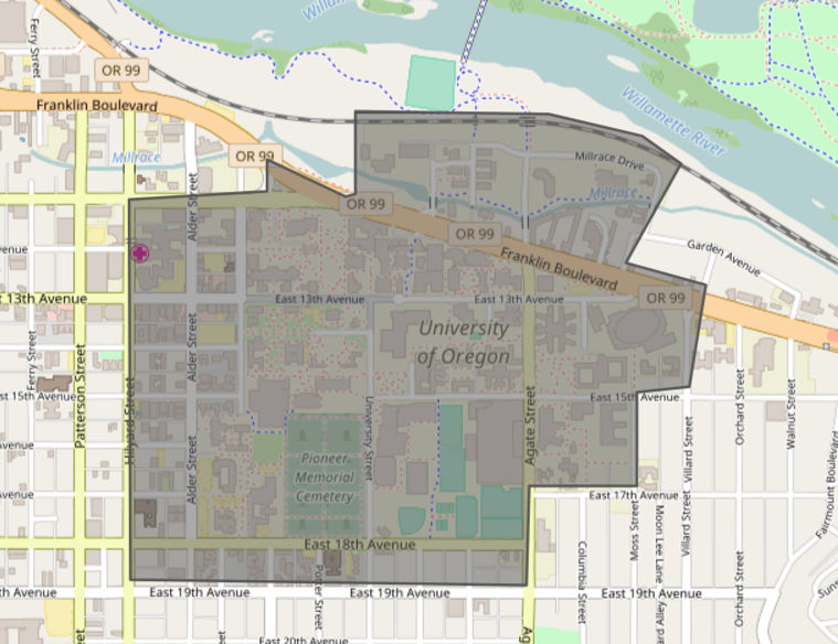 GeoFli drawing tool to target the University of Oregon campus