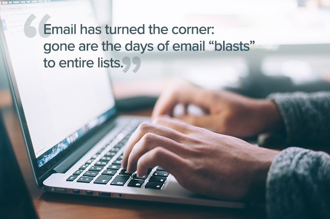 Image explaining that the days of email blasts are gone