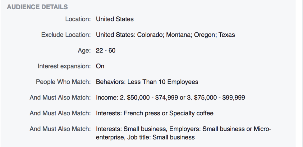An example of individuals segmented based on location, employment, income, and an interest in coffee.