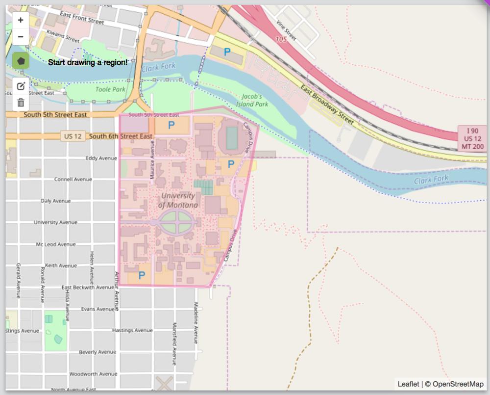 A geofence drawn around the University of Montana. Source: GeoFli