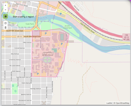 The University of Montana campus, genfenced using GeoFli.