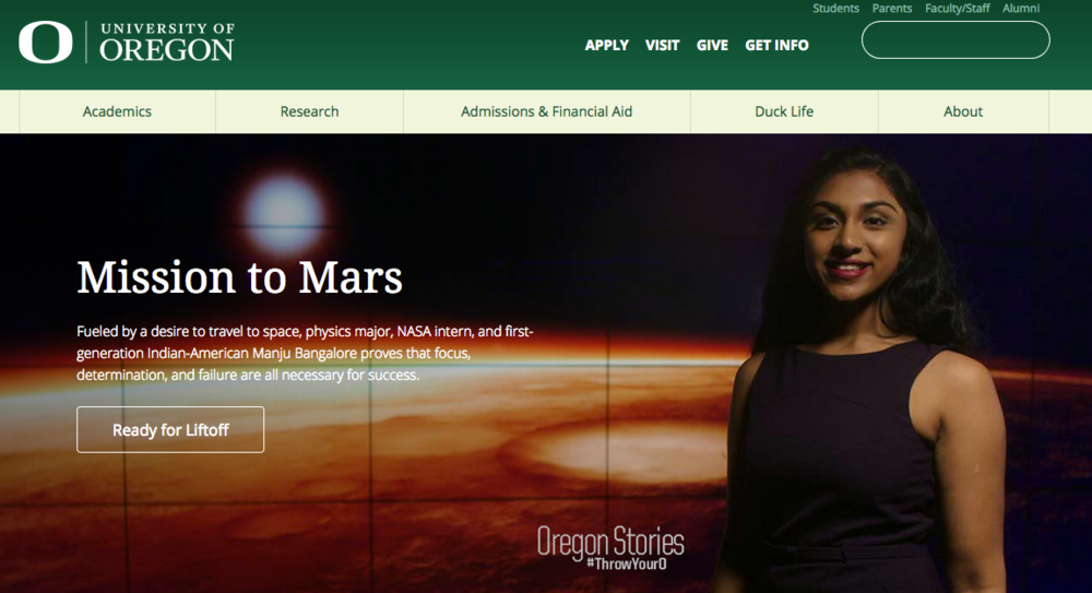 Aspiring astronaut, physics major, NASA intern, and first-generation Indian-American student Manju Bangalore was featured on the University of Oregon's homepage.