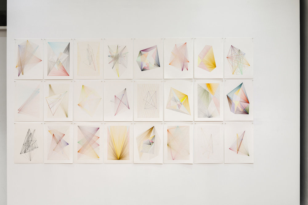 'Chance Forms' (2018), coloured pencil on paper, 24 x A3 sheets  Installation view of artwork installed at Wellington St Projects (Chippendale, Sydney) in March 2018, photograph by Document Photography