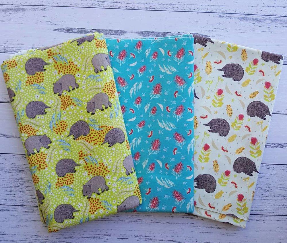 Marsupials & Monotremes: Echidna & Wombat Green, Grevillea on Aqua, Echidna Shuffle Cream