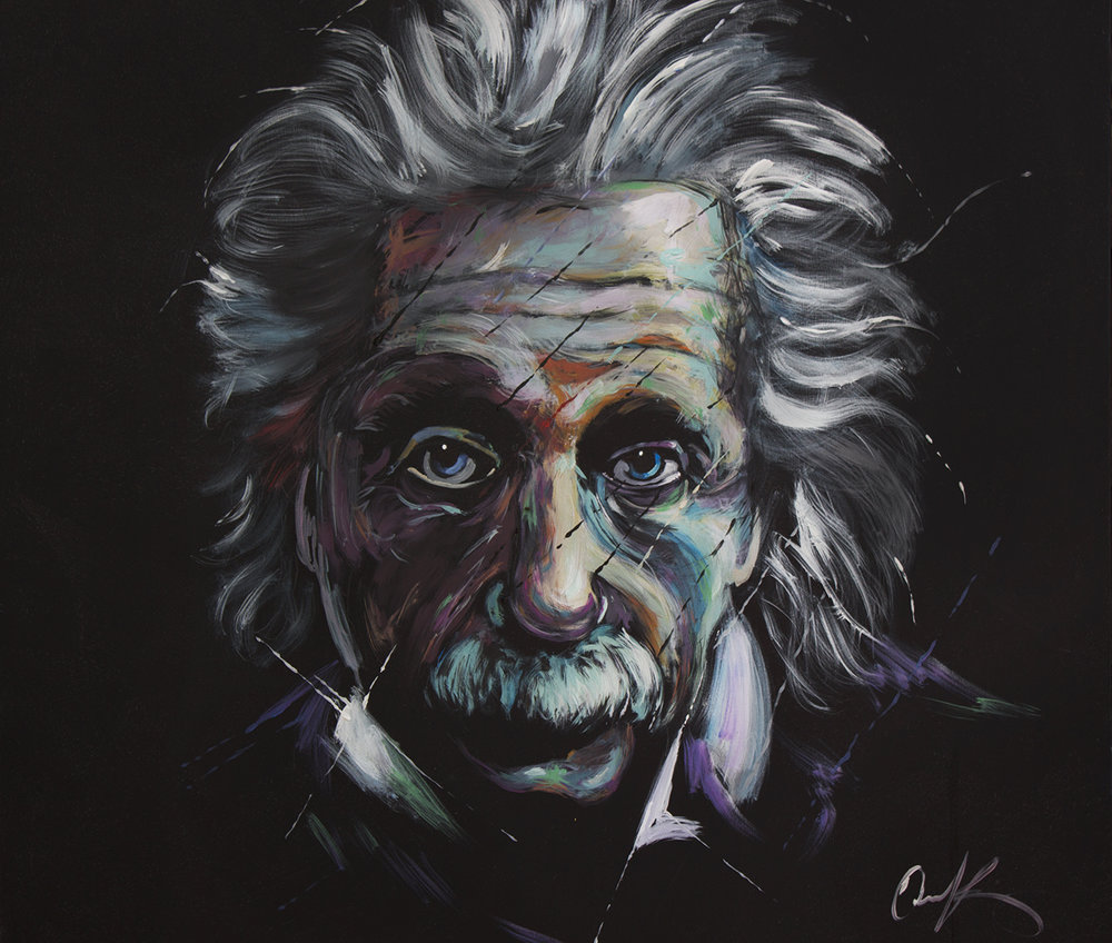 "Albert Einstein   48""x48"" latex on canvas."