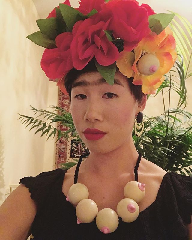 Ahem, my eyes are up here. Boob jewelry made from ping pong balls and sculpey clay. #FridaNipple