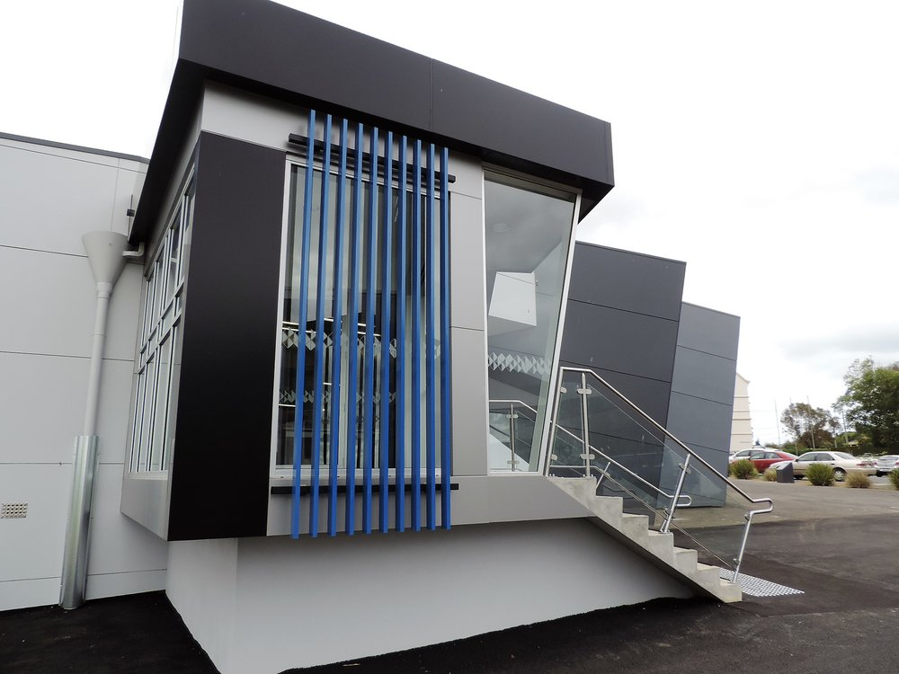 2 part Kabebari System, custom powdercoated blue / Emmanuel College Warrnambool