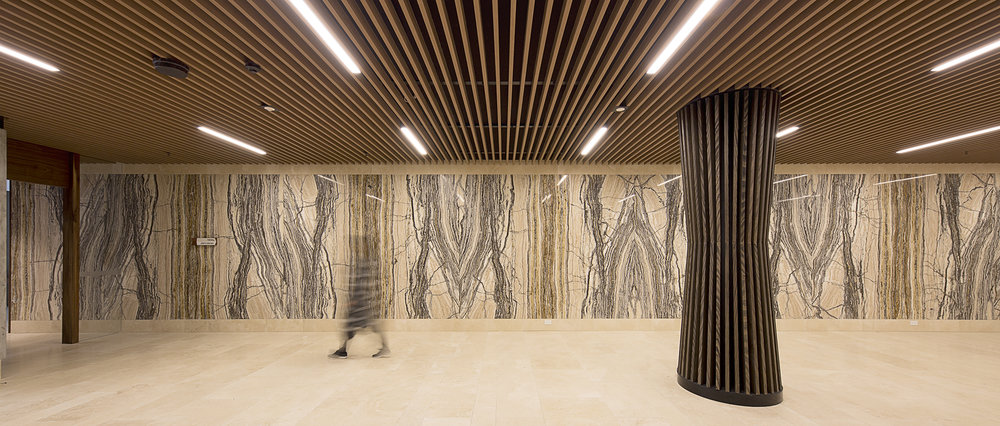 Fire rated timber look suspended ceiling @ Lakeside Apartment Lobby Queens Rd Melbourne.jpg