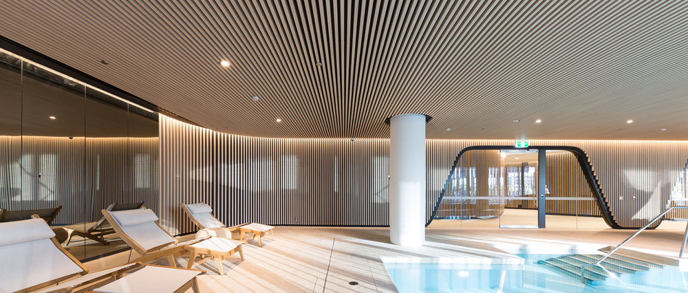 Multi-residential Pool Amenities - 30x50  Kabebari concealed fix battens to walls and ceiling in Supringu Oku.