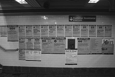 Different information posted on the walls are confusing and distracting for commuters.