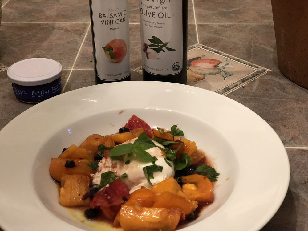 Burrata Cheese w/heirloom tomatoes and Each This Yum Blueberry jam