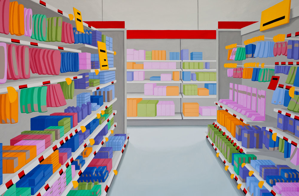 Attention all Shoppers #3, 2013, Gouache on Paper, 22 X 30 inches