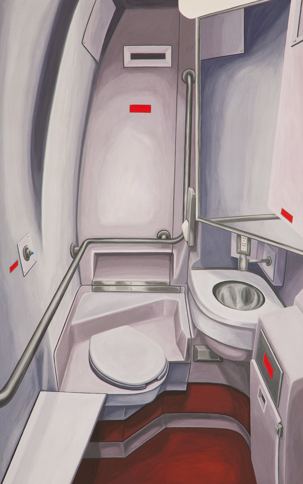 Bathroom #4, 2010, Gouache on Paper, 15 X 22 inches