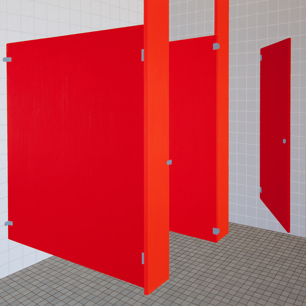 Bathroom Red #2, 2014, Oil on Linen , 72 X 72 inches