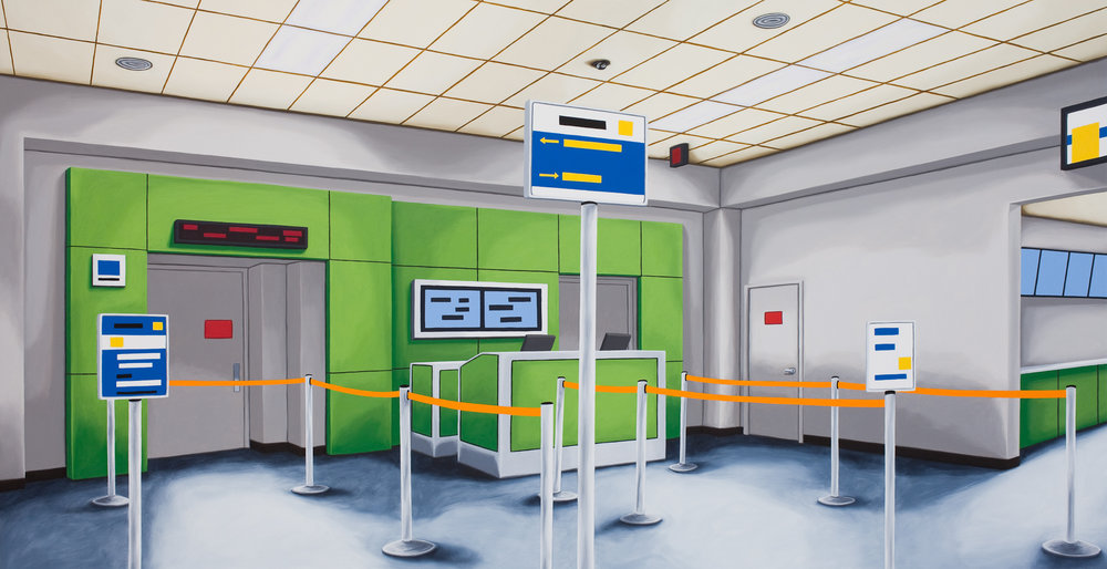 Gate B, 2014, Oil on Canvas, 26 X 50 inches