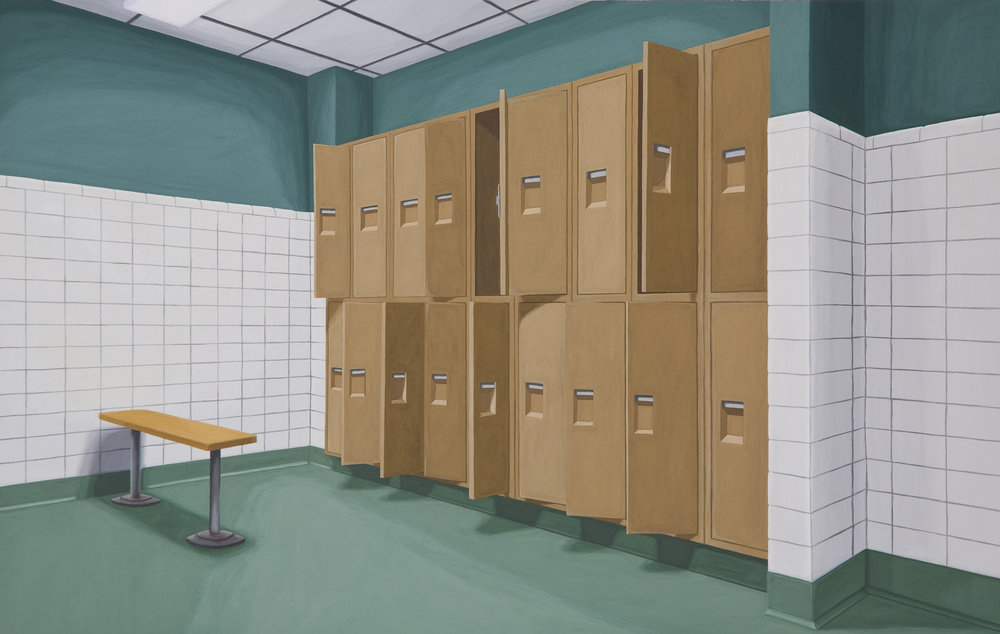 Locker Room, 2010, Gouache on Paper, 15 X 22 inches