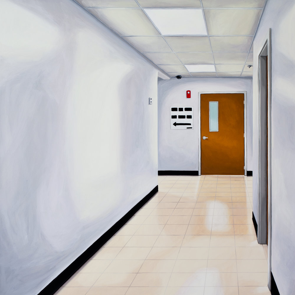 Down The Hall And To The Left, 2013, Gouache on Paper, 21 X 21 inches