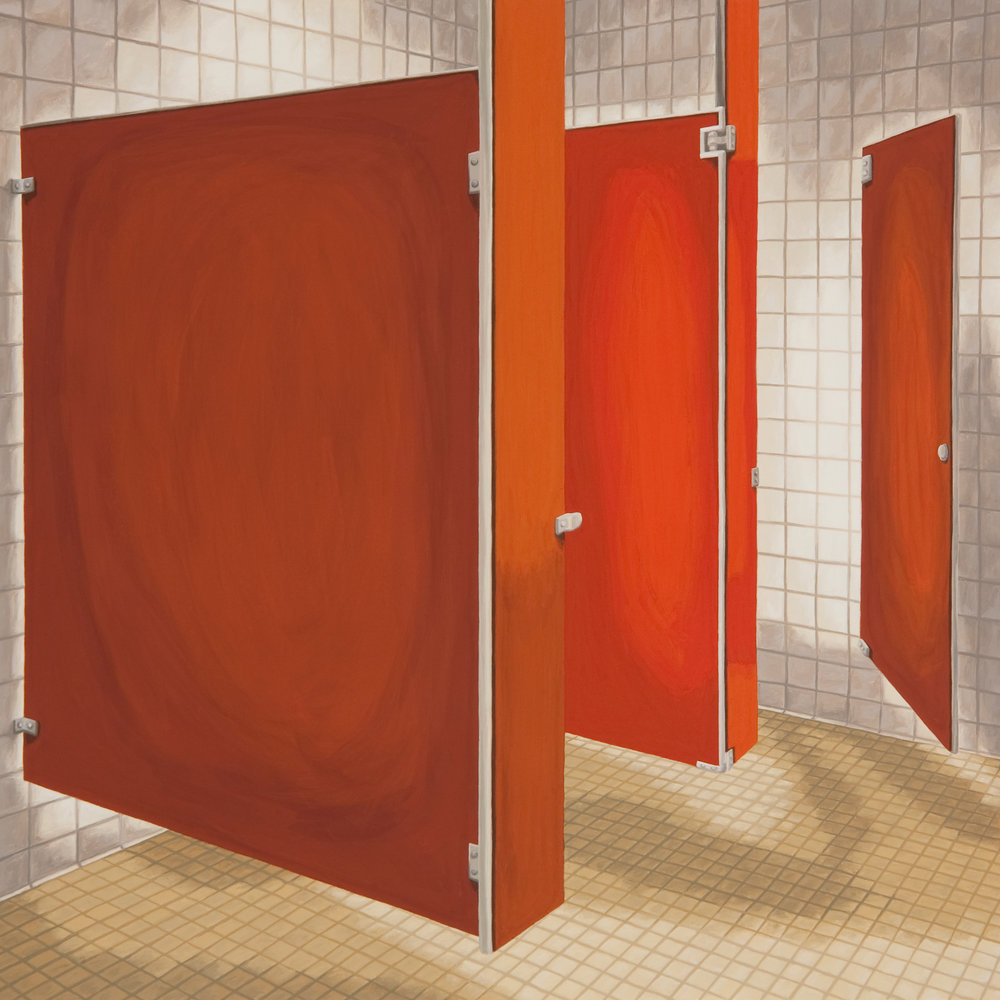 Red Bathroom, 2010, Gouache on Paper, 15 X 15 inches